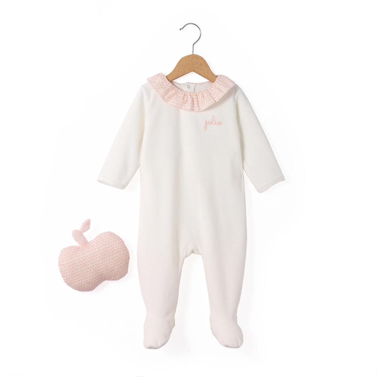 Пижама из велюра + игрушка яблоко 0 мес-3 лет от La Redoute Collections