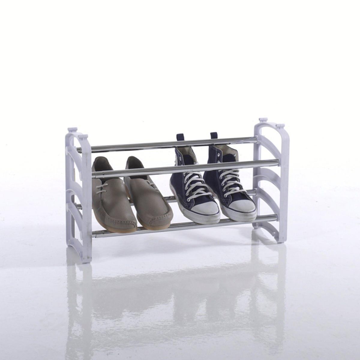 Полка для обуви раздвижная AMPILEРаздвижная полка для обуви длиной от 58 до 102,5 см позволяет хранить до 12 пар обуви. Небольшая глубина (17,8 см) позволяет разместить ее практически где угодно, в том числе внутри шкафа !Характеристики полки для обуви AMPILE :Металлические рейки, детали из белого пластика.Описание полки для обуви AMPILE :- Раздвижная по длине. Есть возможность ставить полки друг на друга.- Позволяет хранить до 12 пар обуви.Готова к сборке в соответствии с прилагающейся инструкцией.Размеры :- Длина от 58 до 102,5 x В.32 x Г.17,8 см.<br><br>Цвет: белый