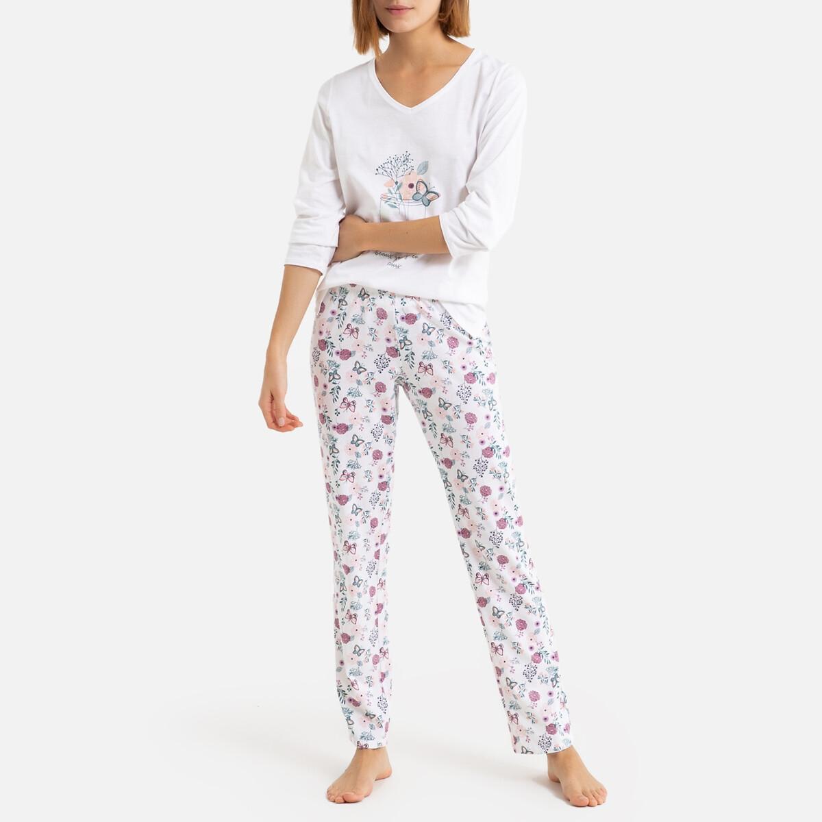 Pijama estampado de flores, de punto 100% algodón