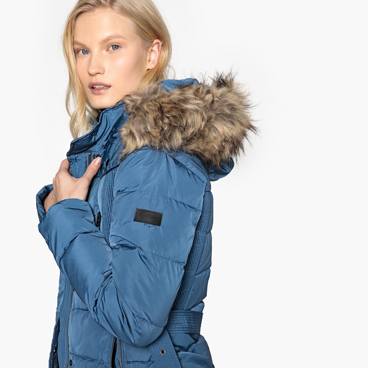Куртка стеганая короткая с ремешком и капюшоном на меху куртка стеганая короткая с леопардовым принтом