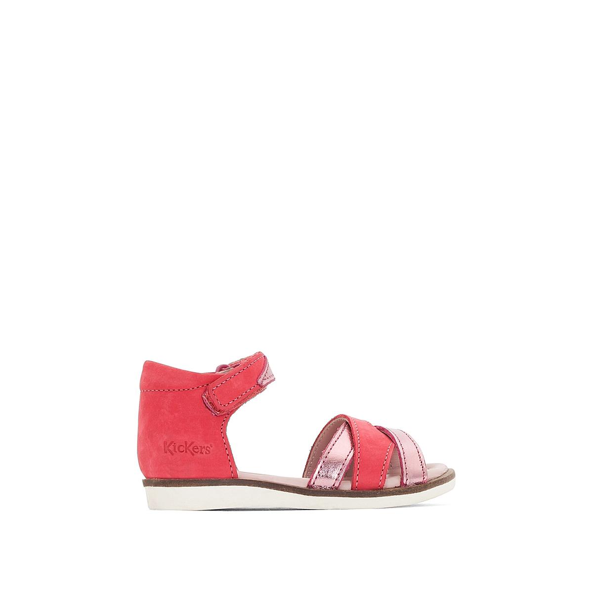 Босоножки кожаные GigiВерх : нубук    Подкладка : кожа   Стелька : кожа   Подошва : каучук    Застежка : планка-велкро<br><br>Цвет: розовый фуксия