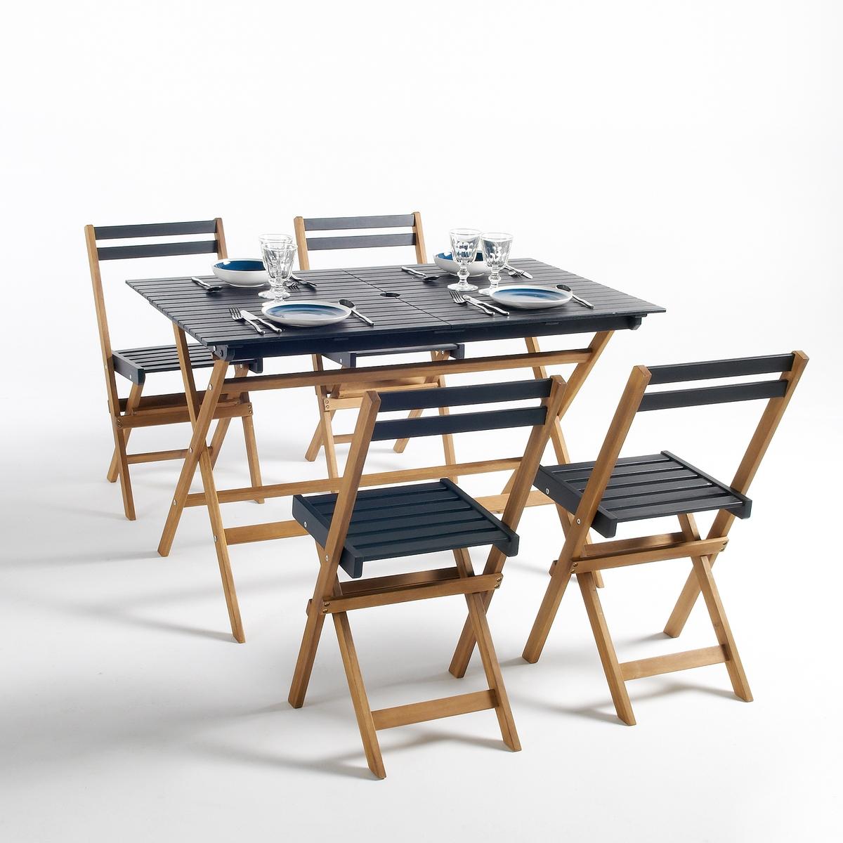 Садовый комплект из 5 предметов, MyrtonСадовый комплект из 5 предметов, Myrton акация . Практичная и красивая садовая мебель из натуральной акации Myrton идеальна для сада, террассы или балкона. Полностью складная для оптимальго хранения .Описание комплекта Myrton :Комплект состоит из 1 стола прямоугольной формы и 4 складных стульев .Отверстие посередине стола для зонтика .Характеристики комплекта Myrton :Комплект мебели из натуральной экологически чистой акации.Ножки стульев и стола под тик .Столешница + сиденье и спинка стульев черного матового цвета с покрытием глазурью .Найдите всю коллекцию садовой мебели  на сайте laredoute .ruРазмеры комплекта Myrton :Разм. общие столаШирина : 120 смВысота : 70 смГлубина : 75 смРазм. стула Ширина : 43,5 см.Высота : 80 смГлубина : 42 см.Сиденье : 33 x 37,4 x 54 см Размеры и вес упаковки :1 упаковка 126 x 92,5 x 20 см 23 кг Доставка :Комплект мебели из 5 предметов Myrton продается готовым к сборке . Доставка осуществляется до квартиры по предварительной договоренности.Внимание! Убедитесь в том, что товар возможно доставить на дом, учитывая его габариты(проходит в двери, по лестницам, в лифты).<br><br>Цвет: черный<br>Размер: единый размер