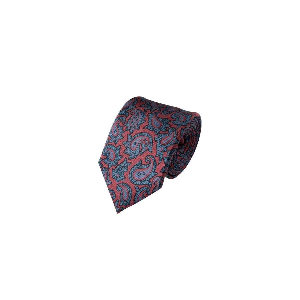 Cravate à motifs cachemires cyans en soie, Made in France