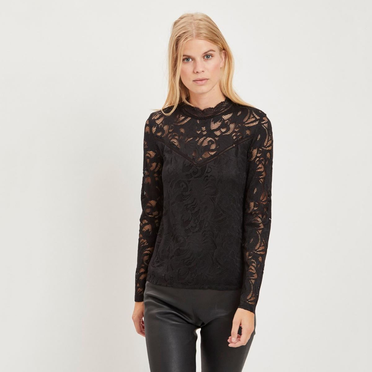 цена Блузка La Redoute С воротником-стойкой и длинными рукавами M черный онлайн в 2017 году
