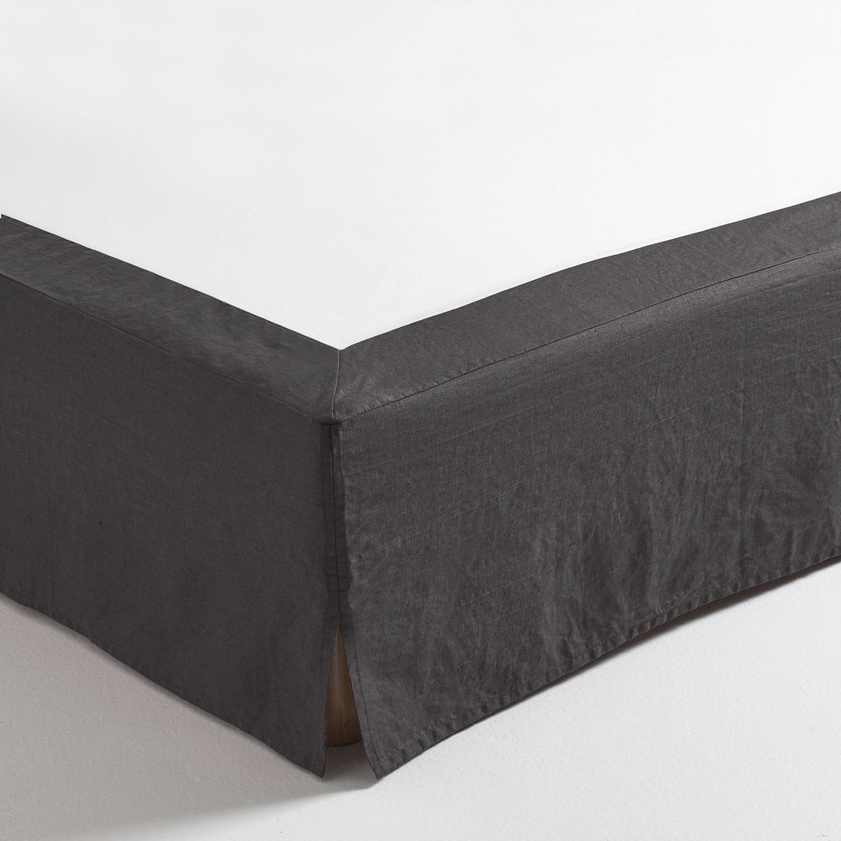 Чехол LaRedoute Для кровати 100 льна 90 x 190 см серый матрас laredoute для кровати с ящиком 90 x 180 x 12 белый