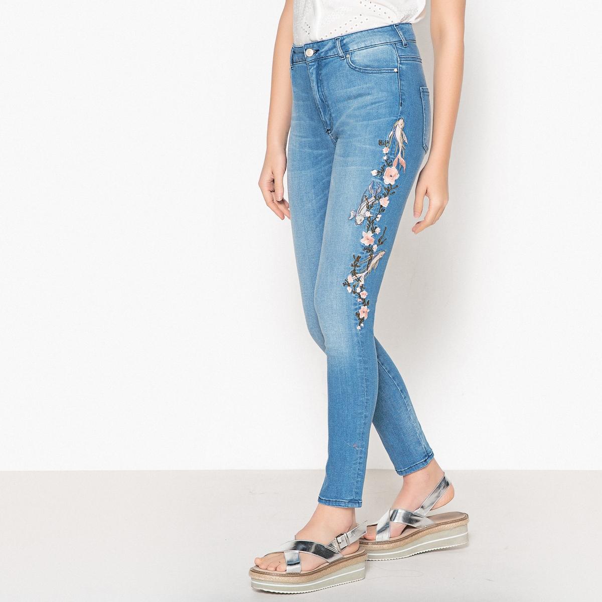 Джинсы слим с высоким поясом из денима стретч джинсы слим с тропическим рисунком 3 14 лет