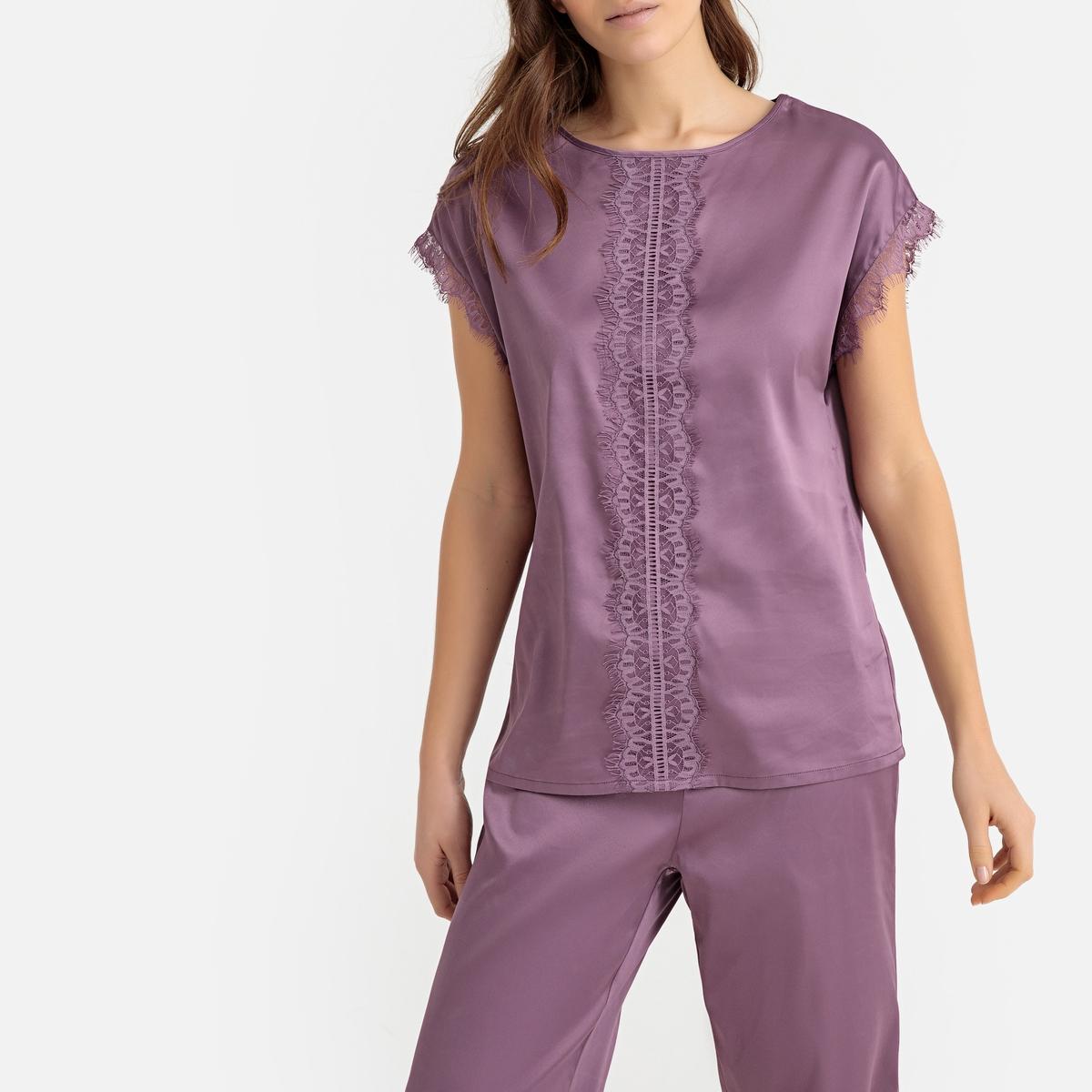 Pijama de satén con detalle de encaje