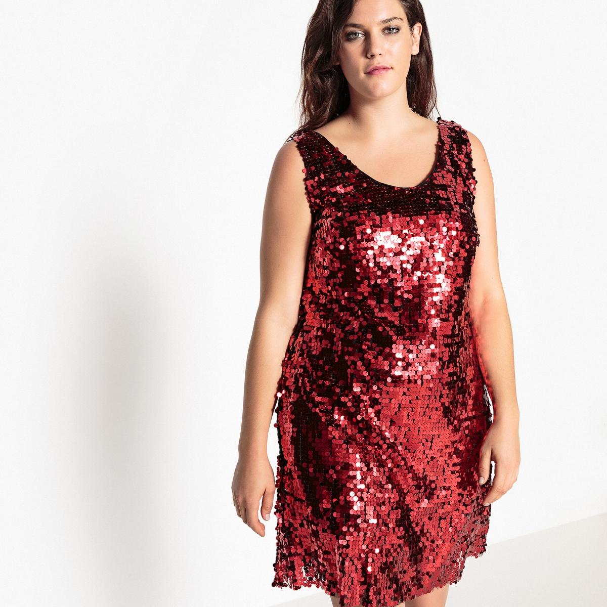 Платье прямое с пайеткамиОписание:Хорошенькое платье с пайетками в духе 80-х . Гламурное платье с блестками идеально для того, чтобы блистать на вечеринке и притягивать взгляды .Детали •  Форма : расклешенная •  Длина до колен •  Без рукавов    •   V-образный вырезСостав и уход •  100% полиамид •  Подкладка : 100% полиэстер •  Температура стирки при 30° на деликатном режиме  •  Сухая чистка и отбеливание запрещены •  Не использовать барабанную сушку  •  Не гладитьТовар из коллекции больших размеров •  Длина : 99,8 см<br><br>Цвет: красный с блестками<br>Размер: 56 (FR) - 62 (RUS).42 (FR) - 48 (RUS)