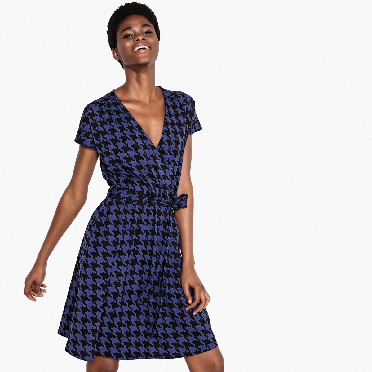 Платье La Redoute С запахом и принтом в ломаную клетку с ремешком XS другие шорты la redoute плавательные с принтом джунгли мес года 18 мес 81 см синий