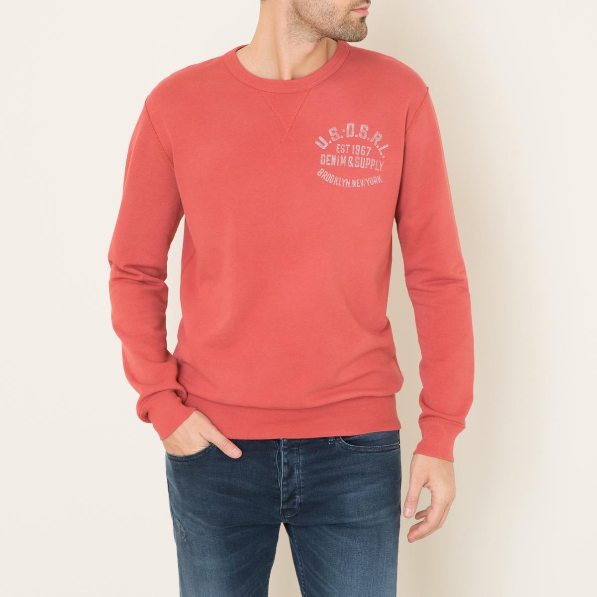 Свитшот с надписьюСостав и описание    Материал : 100% хлопок   Марка : Denim and Supply Ralph Lauren<br><br>Цвет: красный<br>Размер: XL.M