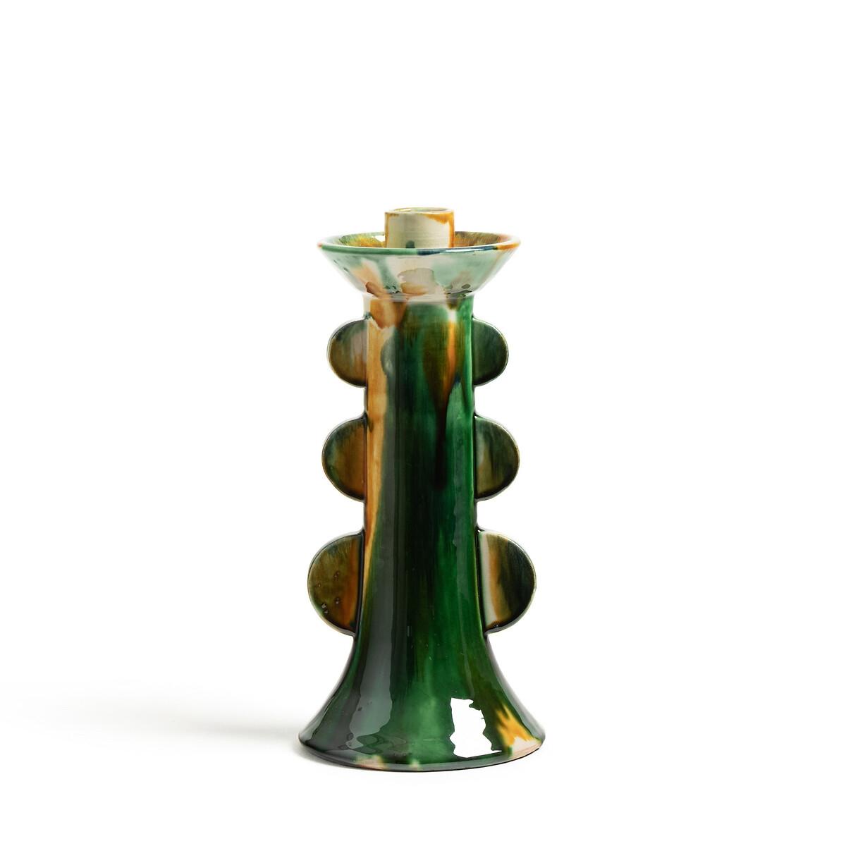 Подсвечник LaRedoute Из эмалированного фаянса В26 см Totem единый размер зеленый