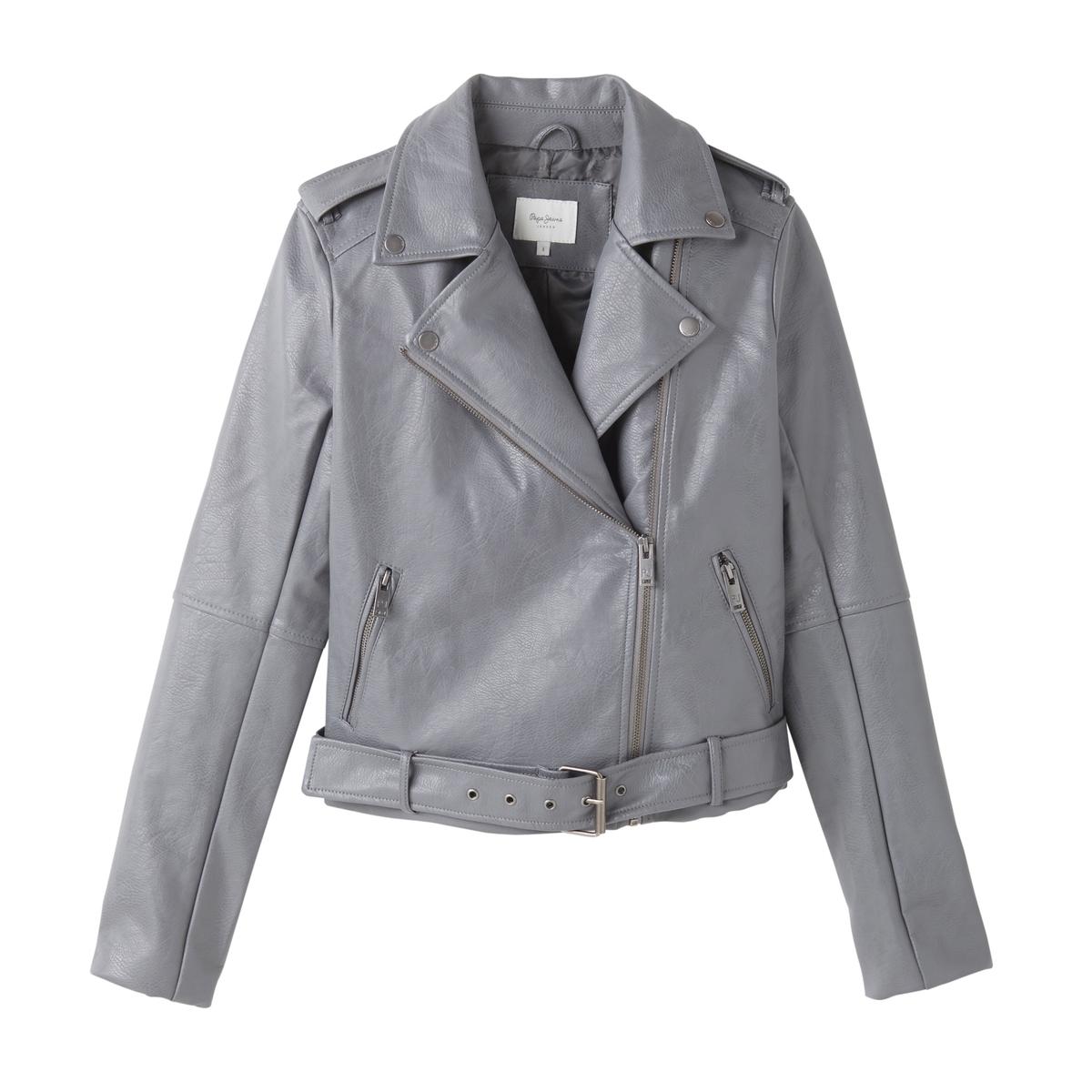 Блузон в байкерском стиле из имитации кожи блузон кожаный в байкерском стиле