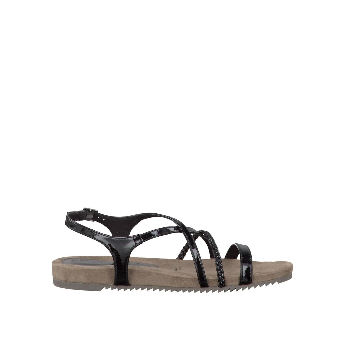 Босоножки 28106-28Верх/Голенище : синтетика    Подкладка : текстиль    Стелька : синтетика    Подошва : синтетика    Высота каблука : 2 см    Форма каблука : плоский каблук    Мысок : закругленный мысок    Застежка : пряжка<br><br>Цвет: серебристый,Черный лак<br>Размер: 39