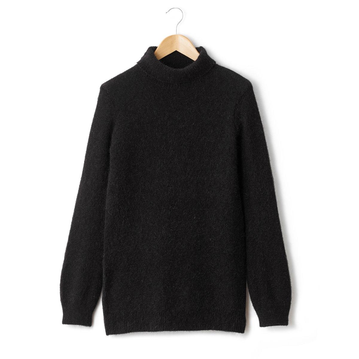 Пуловер-туника с высоким воротником