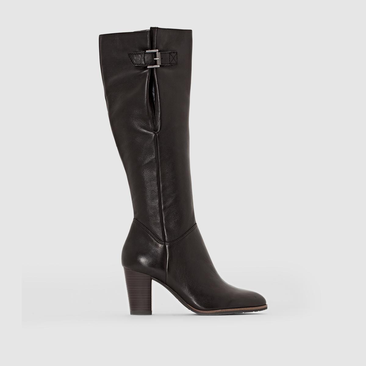 Сапоги из кожиПодкладка : текстиль и синтетика   Стелька : Текстиль   Подошва : Синтетический материал   Высота каблука : 7,5 см   Форма каблука : высокий.   Мысок : Закругленный   Застежка : На молнию<br><br>Цвет: черный<br>Размер: 41