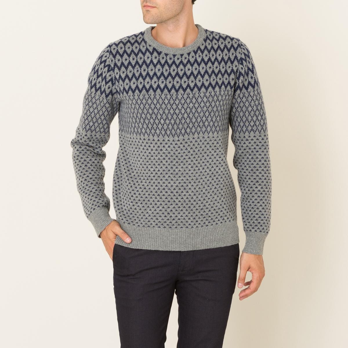 Пуловер жаккардовыйСостав и описание Материал : 80% шерсти, 20% полиамидаМарка : HARTFORD<br><br>Цвет: серый