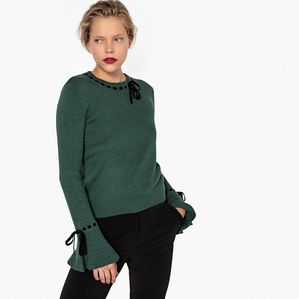 Sweter welurowy z okrągłym dekoltem i ozdobnym wiązaniem