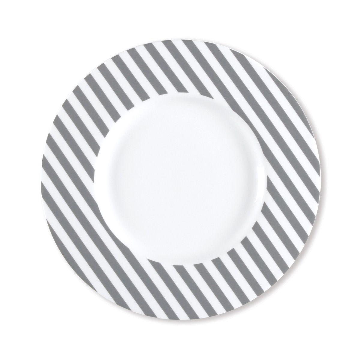 Assiette dessert à rayures gris en porcelaine 23cm - Lot de 6 - FRESHNESS STRIPE