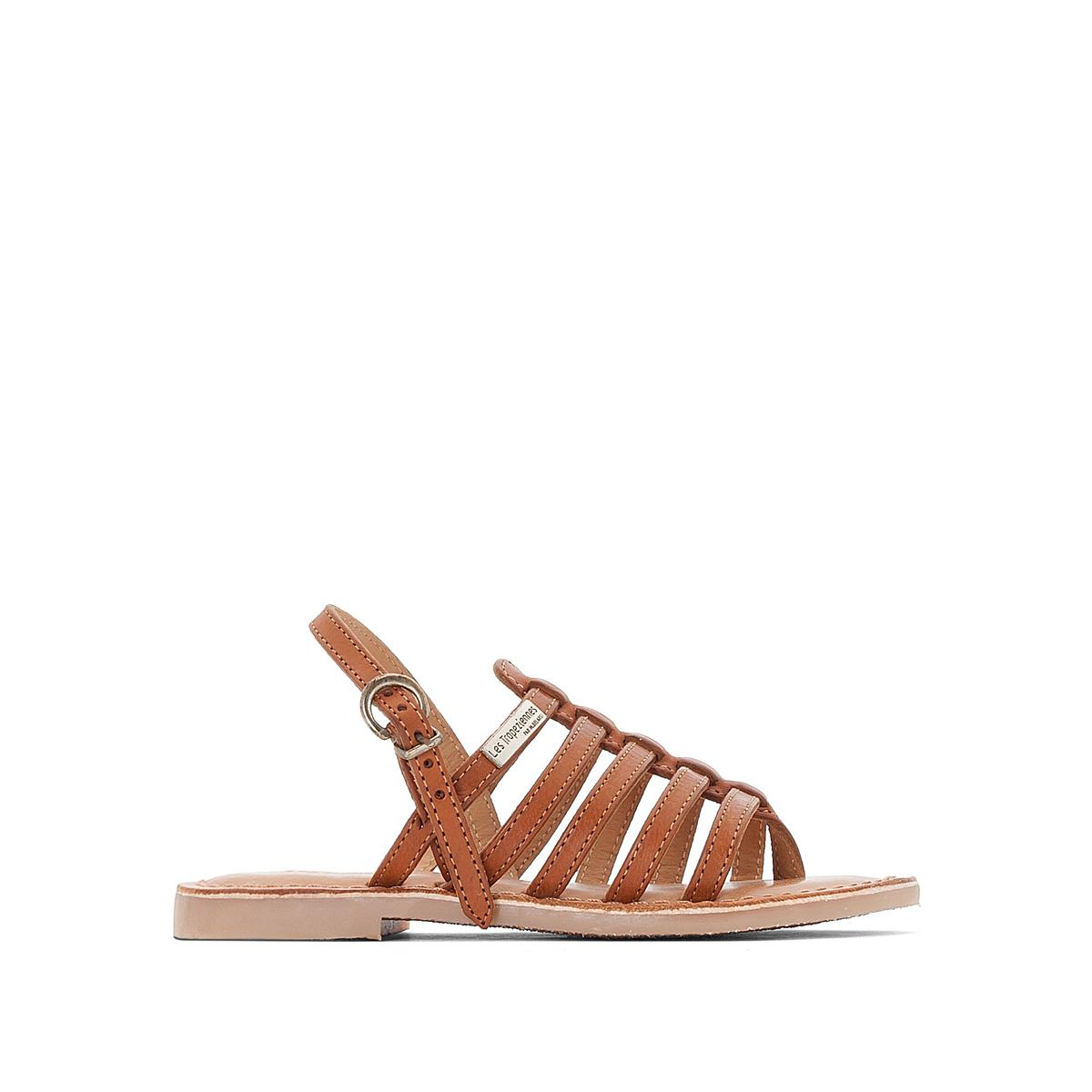 Босоножки кожаные на плоском каблуке Hérisson