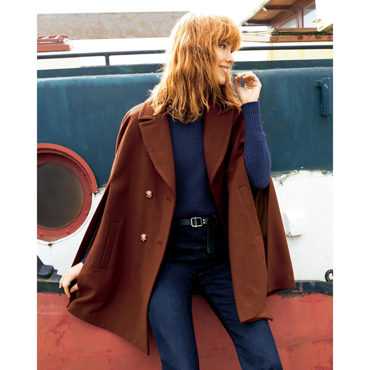 КейпКейп, новое пальто в этом сезоне ! Пиджачный воротник. Застежка на пуговицы. 2 прорезных кармана по бокам. Вышивка золотистый бантик с внутренней стороны на спинке вверху  .Состав и описание : Материал 38% шерсти, 28% акрила, 27% полиэстера, 4% хлопка, 3% полиамидаПодкладка: 100% полиэстераДлина 85 см Бренд: Mademoiselle R Уход :Сухая чистка..Машинная сушка запрещена.Гладить на низкой температуре.<br><br>Цвет: терракота