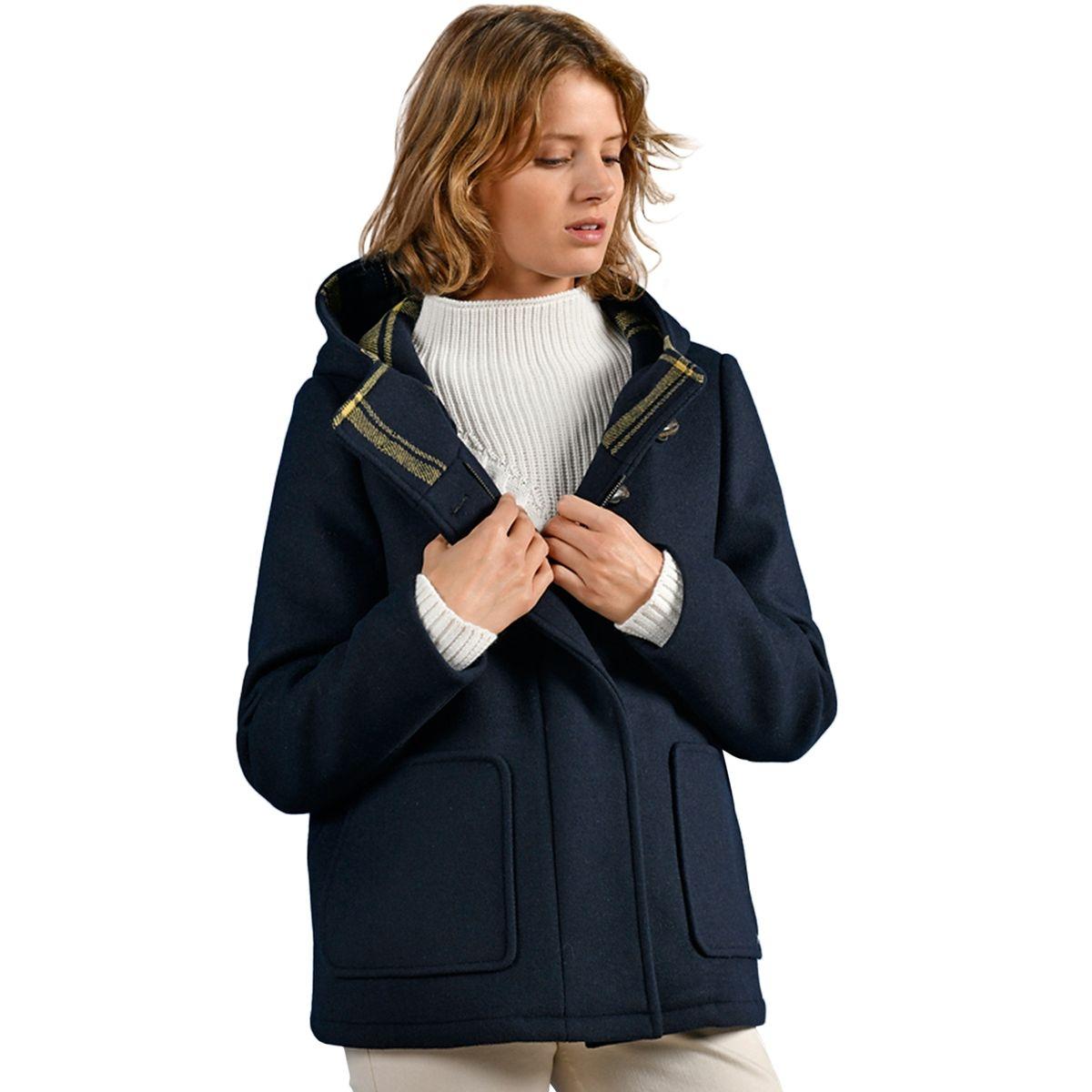 Duffle-coat court bleu marine