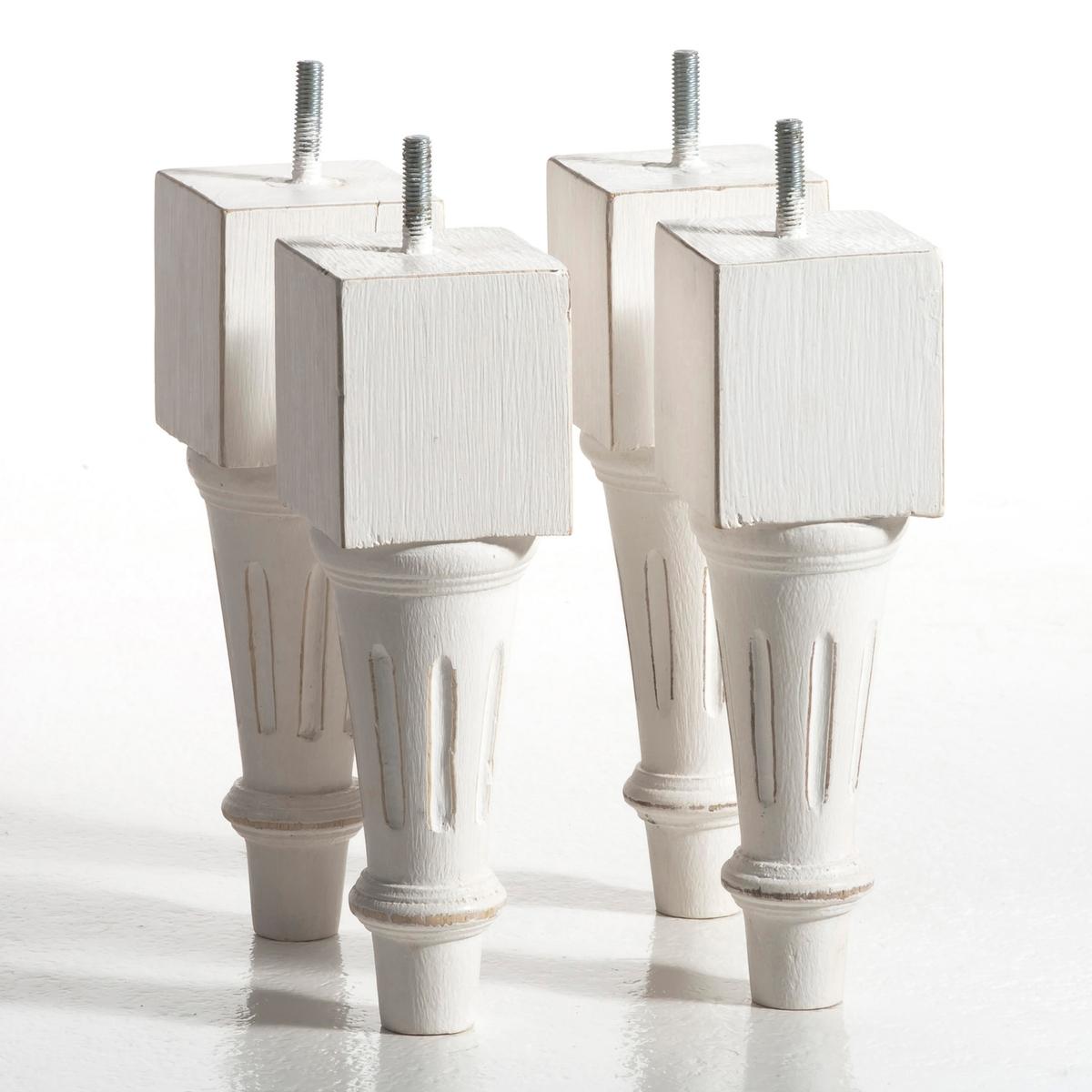 4 резные ножки для кроватиРезные ножки для кровати в стиле Людовика XVI, сочетаются с изголовьем Pacato (продается на нашем сайте), адаптируются к любым каркасам кроватей с возможностью резьбового крепления ножек.   Выполнены из массива мангового дерева, отделка: состаренный акриловый лак и нитроцеллюлозный лак. Комплект из 4 резных ножек для кровати. Основание: 6 x 6, выс.20 см.<br><br>Цвет: бежевый экрю,белый,серый,черный<br>Размер: комплект из 4
