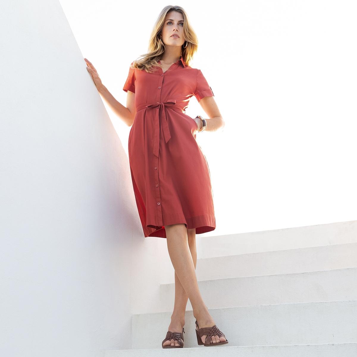 Imagen principal de producto de Vestido evasé con popelina stretch, manga corta - Anne weyburn