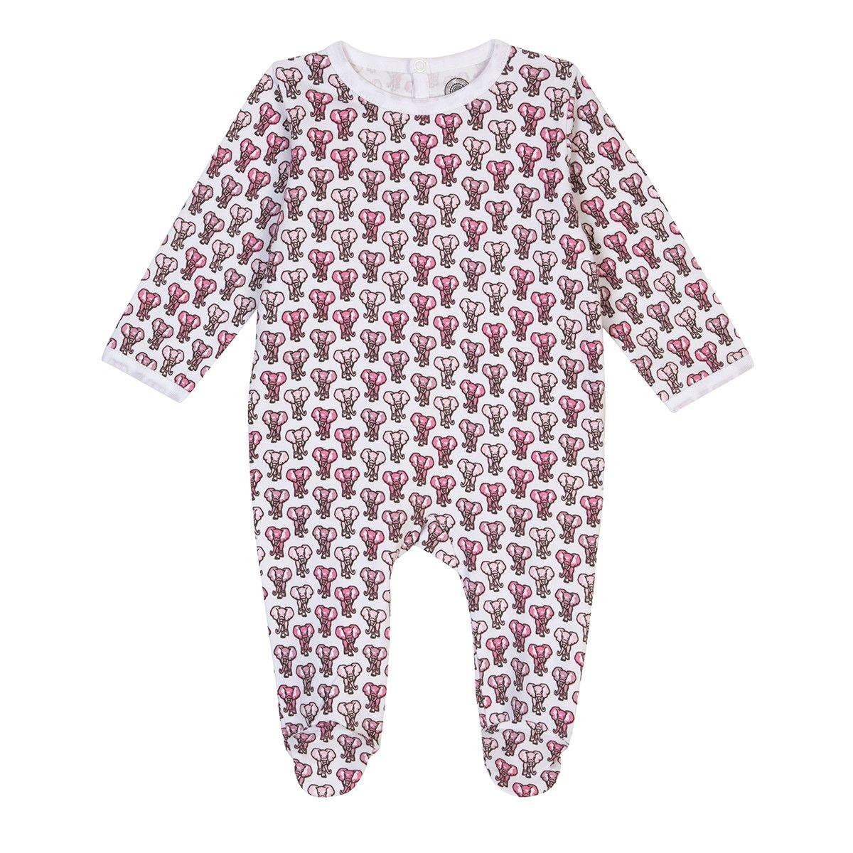 Pyjama bébé fille en coton bio - Imprimé Eléphant