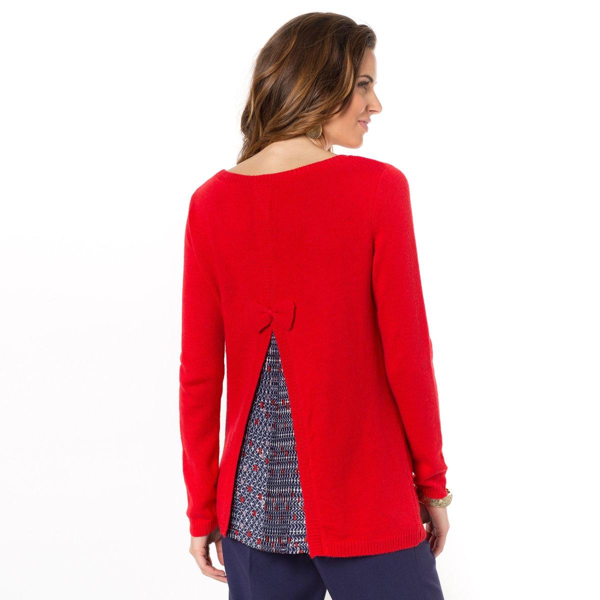 Пуловер, 8% альпакиКруглый вырез. Элегантная, слегка трапециевидная форма с асимметричным вырезом на спине и вставкой из плиссированной вуали с рисунком. Края связаны в рубчик. Длина ок. 65 см. Трикотаж, 40% акрила, 35% полиамида, 17% вискозы, 8% альпаки.<br><br>Цвет: красный