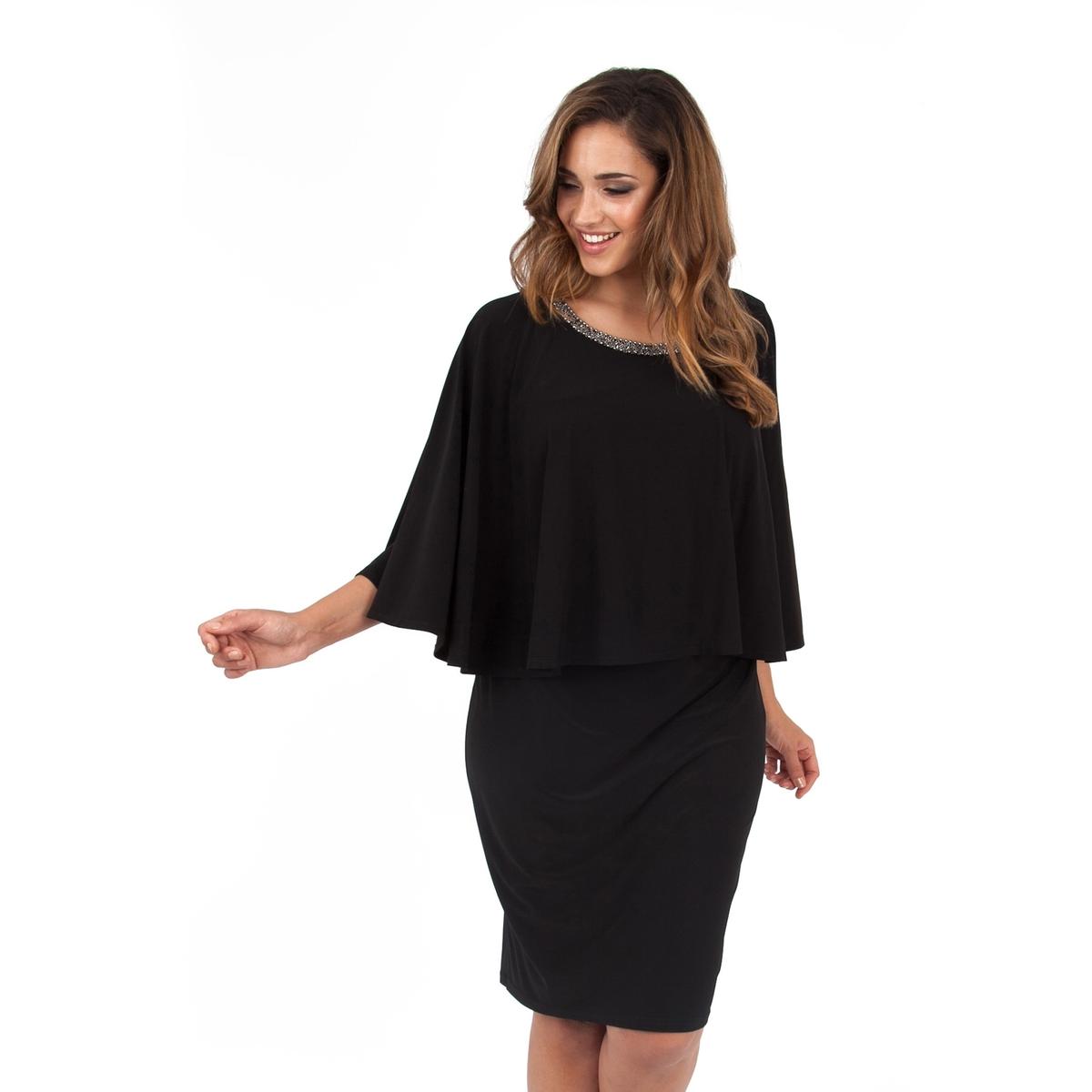 Платье 2 в 1Платье - KOKO BY KOKO. Платье 2 в 1 с декорированным бусинами вырезом. Длина ок.104 см. 100% полиэстера.<br><br>Цвет: черный<br>Размер: 54/56 (FR) - 60/62 (RUS).48 (FR) - 54 (RUS)