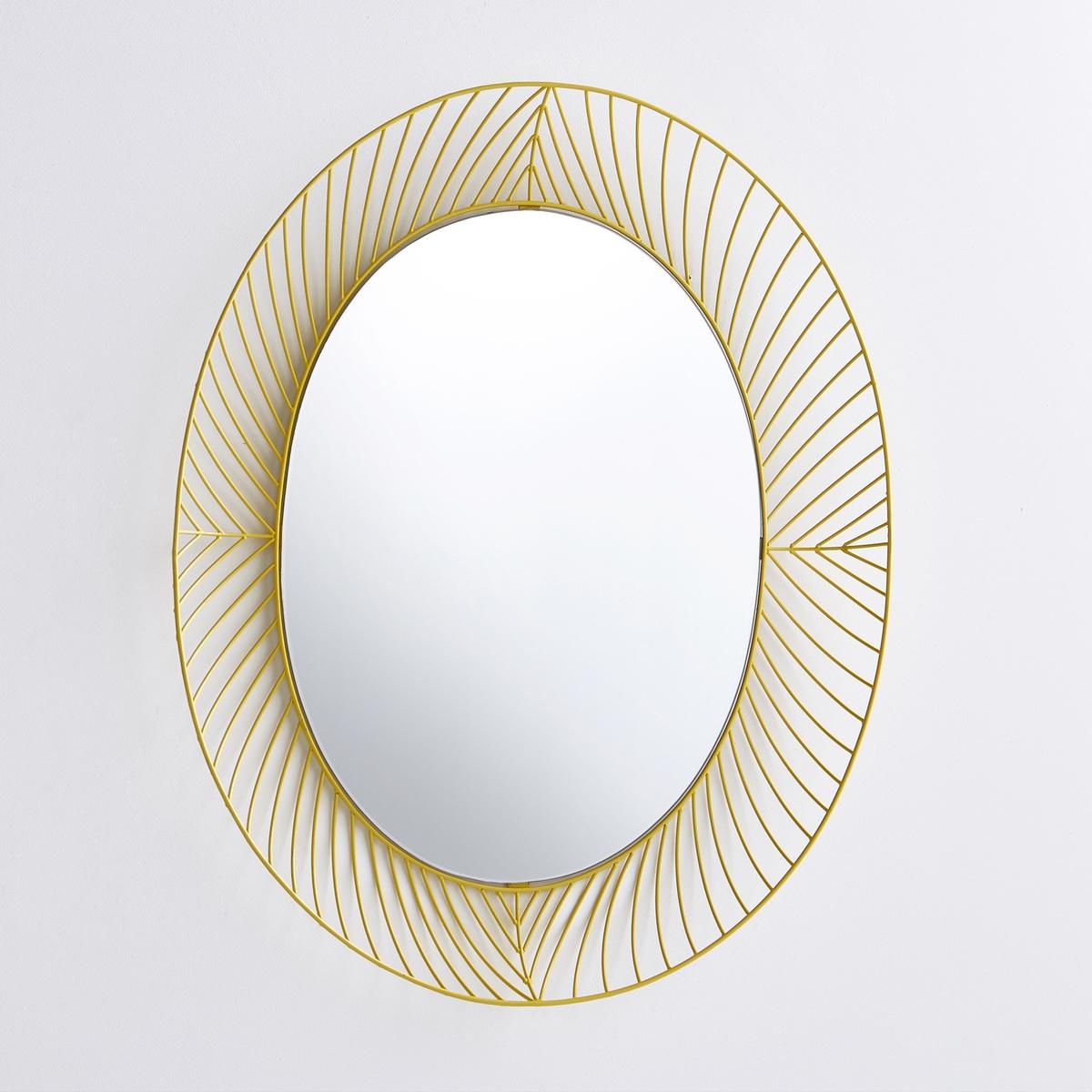 Зеркало овальное Stilk, дизайн от Colonel для Serax, Ш.65 x В.80 смХарактеристики :- Зеркало в оправе из спаянных стальных проволок- Отделка желтой эпоксидной краскойРазмеры  : - Ш.65 x В.80 x Г.6 см<br><br>Цвет: желтый<br>Размер: единый размер