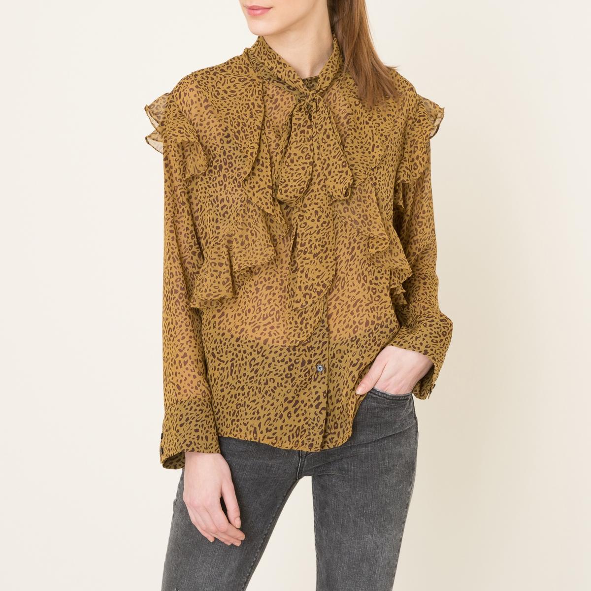 Рубашка с воланамиСостав и описание    Материал : вуаль, 100% полиэстера   Марка : SISTER JANE<br><br>Цвет: леопард