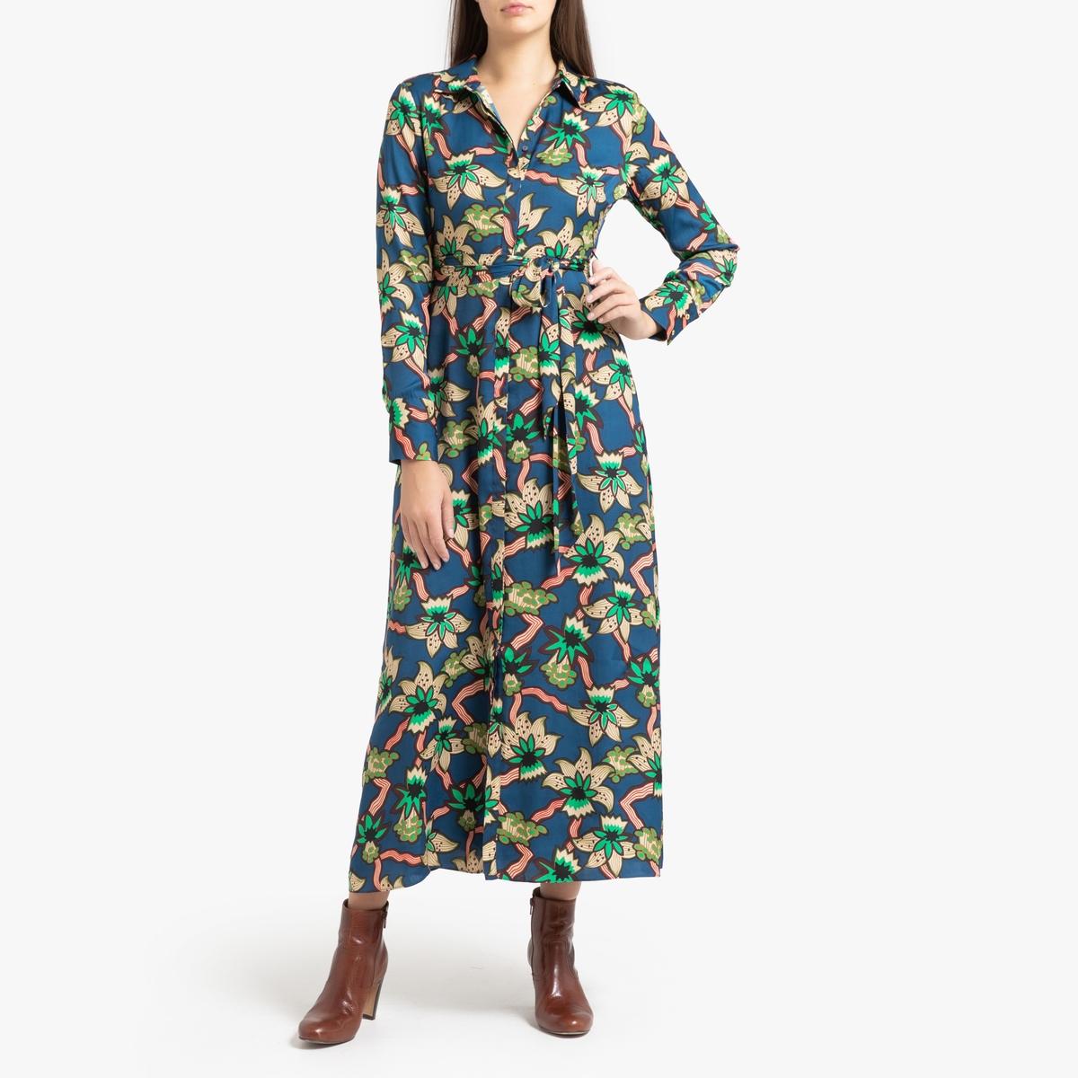 купить Платье La Redoute Длинное с рисунком поясом и рукавами S синий дешево
