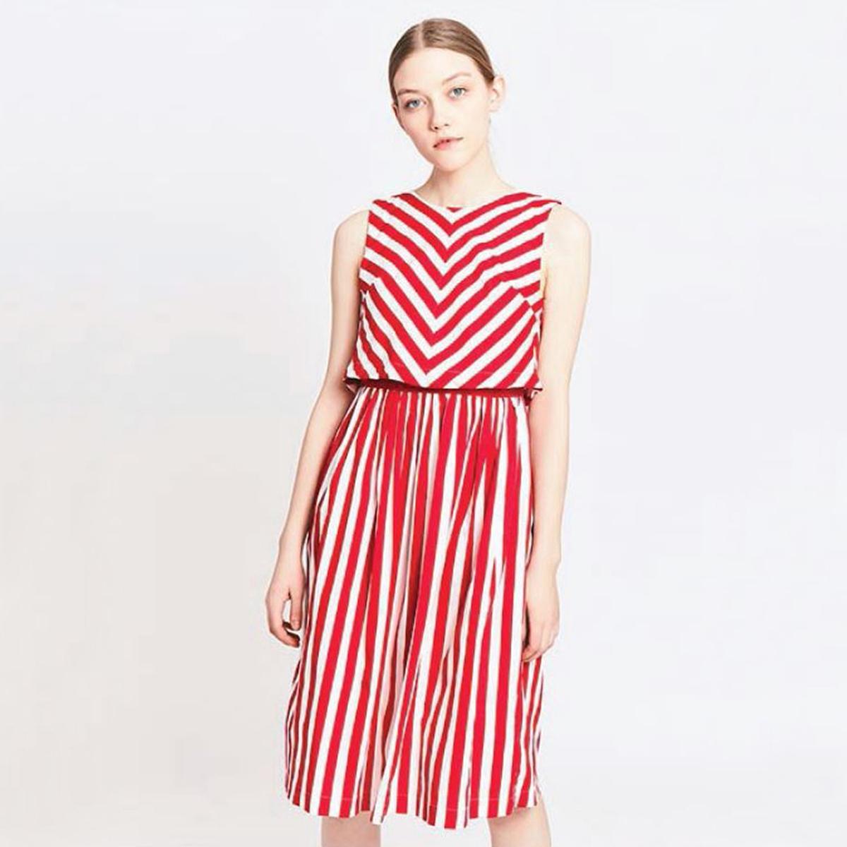 Платье в полоску, длина до коленМатериал : 100% хлопок  Длина рукава : без рукавов  Форма воротника : круглый вырез Покрой платья : расклешенное платье Рисунок : в полоску   Длина платья : до колен<br><br>Цвет: в полоску красный/белый<br>Размер: S