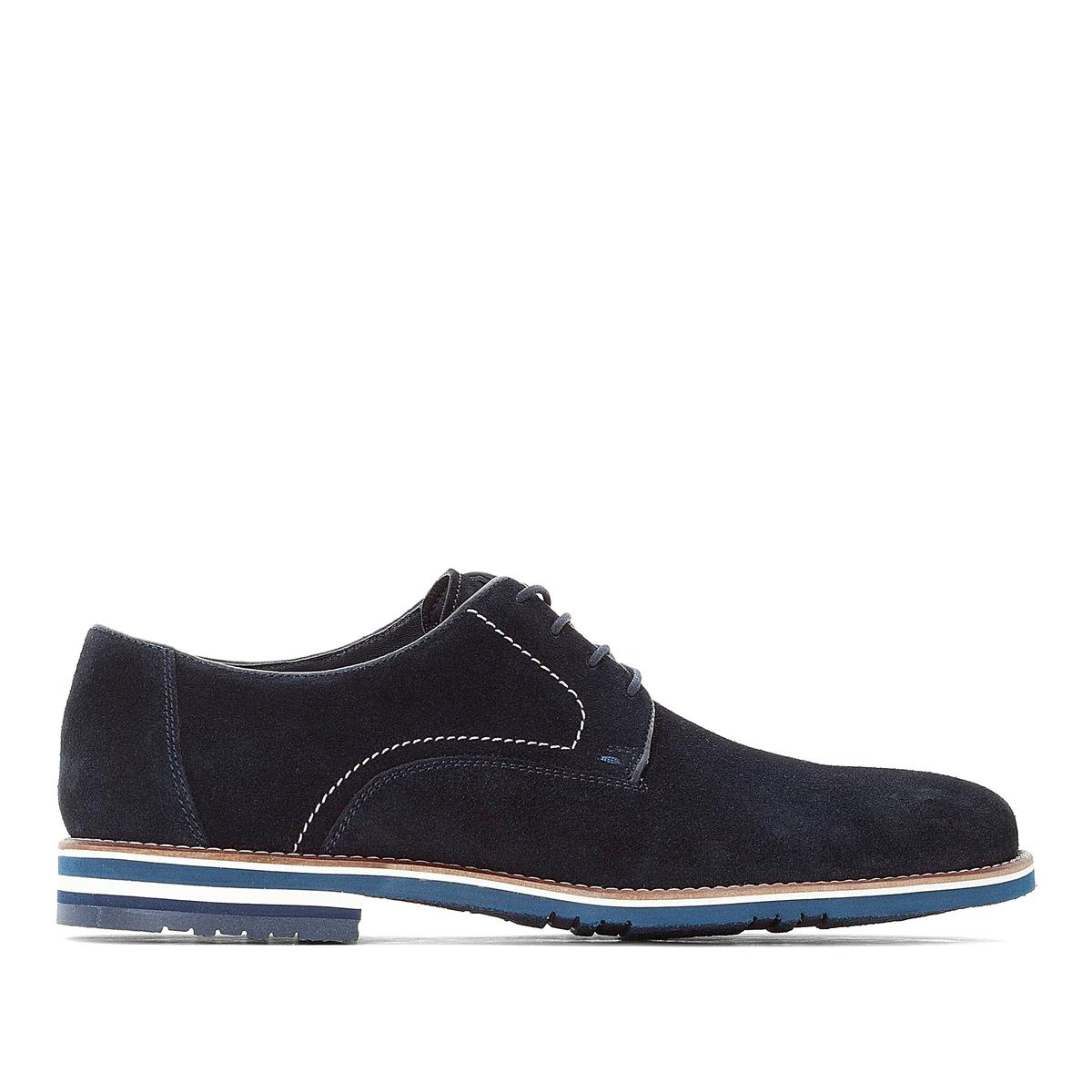 цена Ботинки-дерби La Redoute С двухцветной подошвой 39 синий онлайн в 2017 году