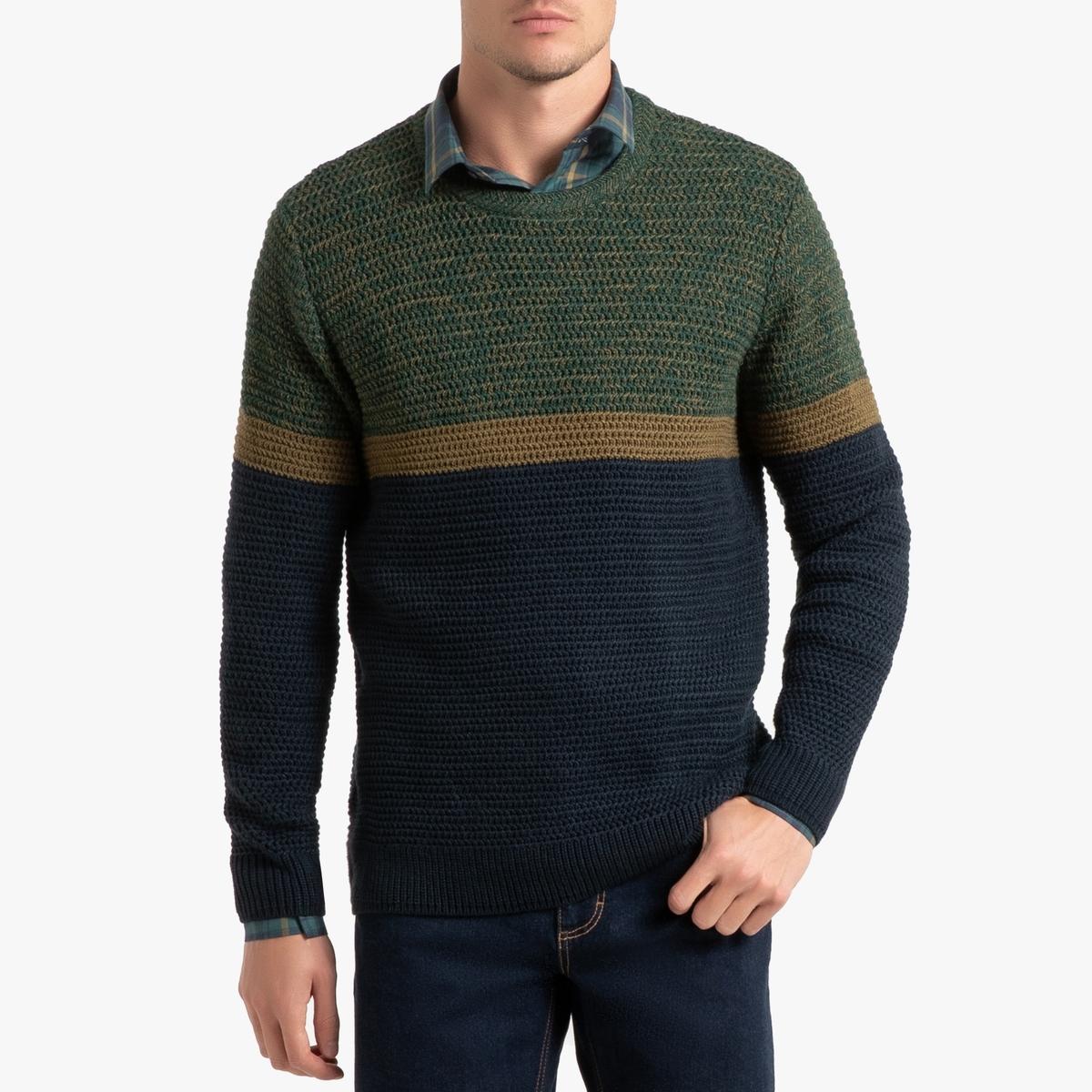 Пуловер La Redoute С круглым вырезом трехцветный из плотного трикотажа M синий пуловер la redoute с круглым вырезом из плотного трикотажа 3xl синий