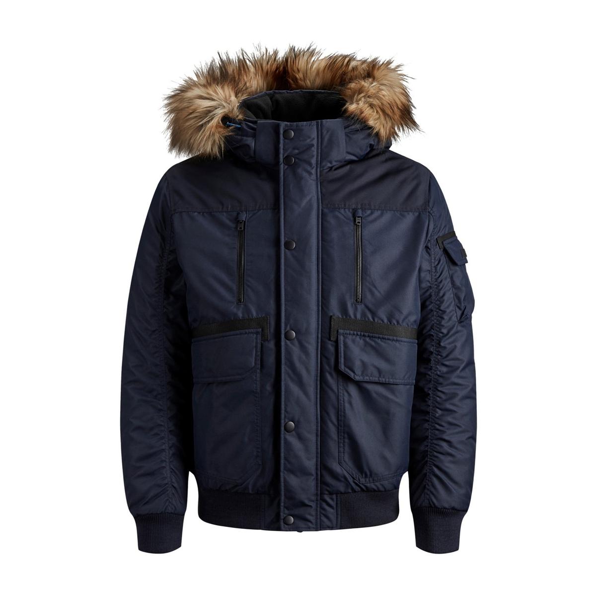 Куртка La Redoute Утепленная с капюшоном Jcoglobe Bomber S синий
