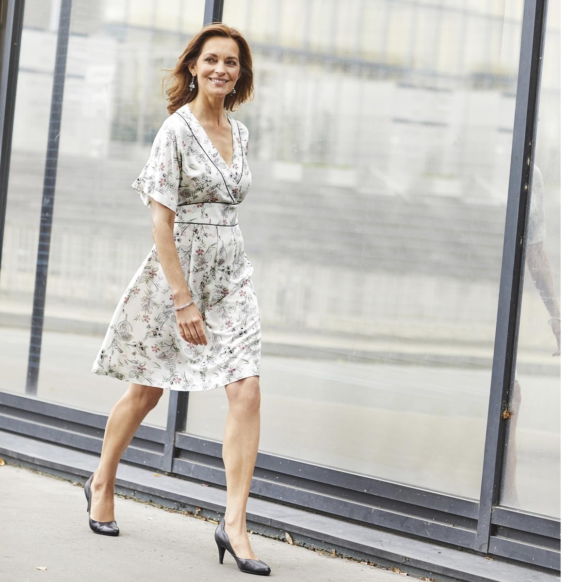 Imagen principal de producto de Vestido evasé estampado, semilargo - Anne weyburn