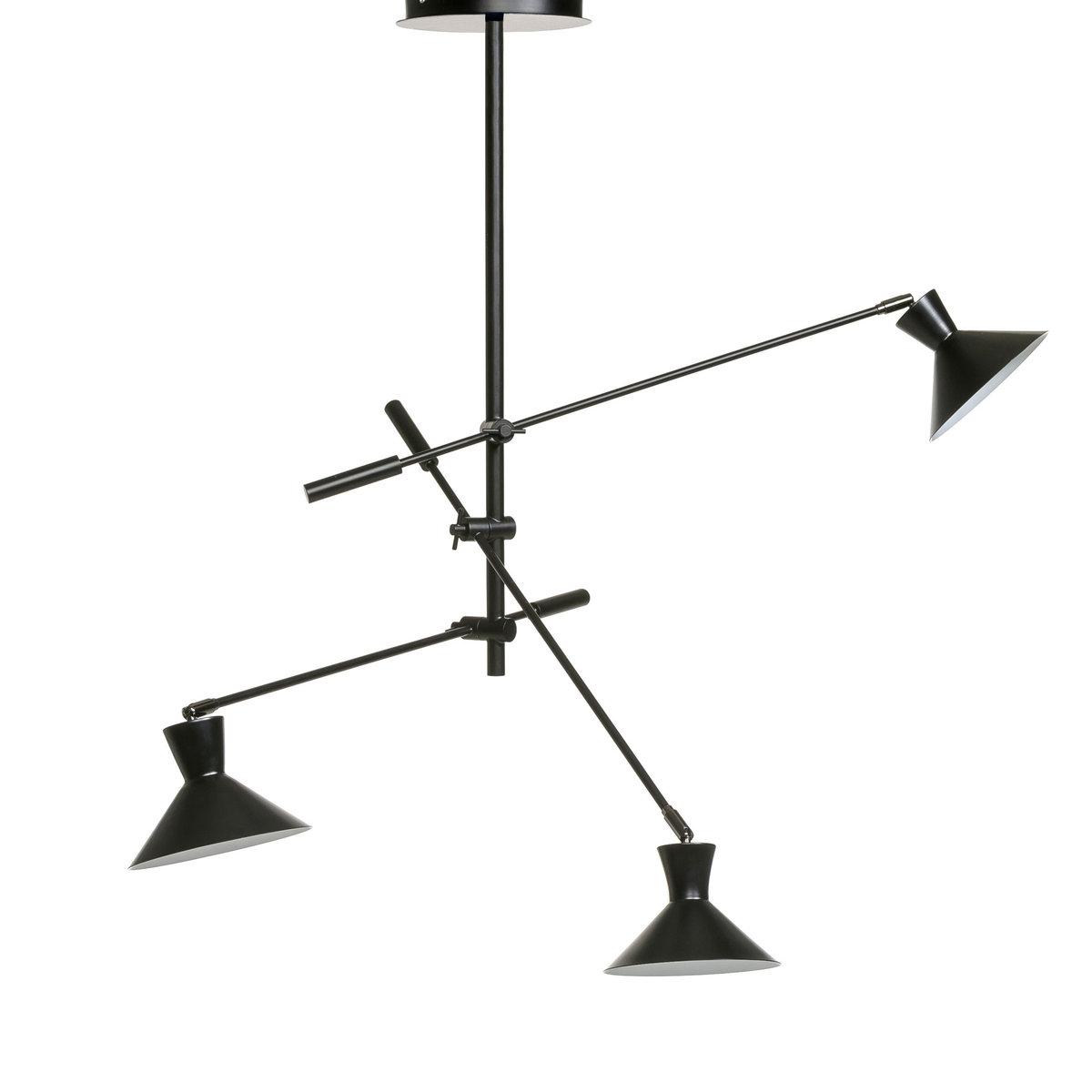 Светильник с 3 рукавами VoltigeОбщая длина  (в обычном положении) : диаметр  119,5 см . Чаша диаметр 22 см . 3 патрона E14 (не входят в комплект).       Для флюокомпактной лампочки макс. 11 W (не входит в комплект). Этот светильник совместим с лампочками    энергетического класса   A .<br><br>Цвет: черный