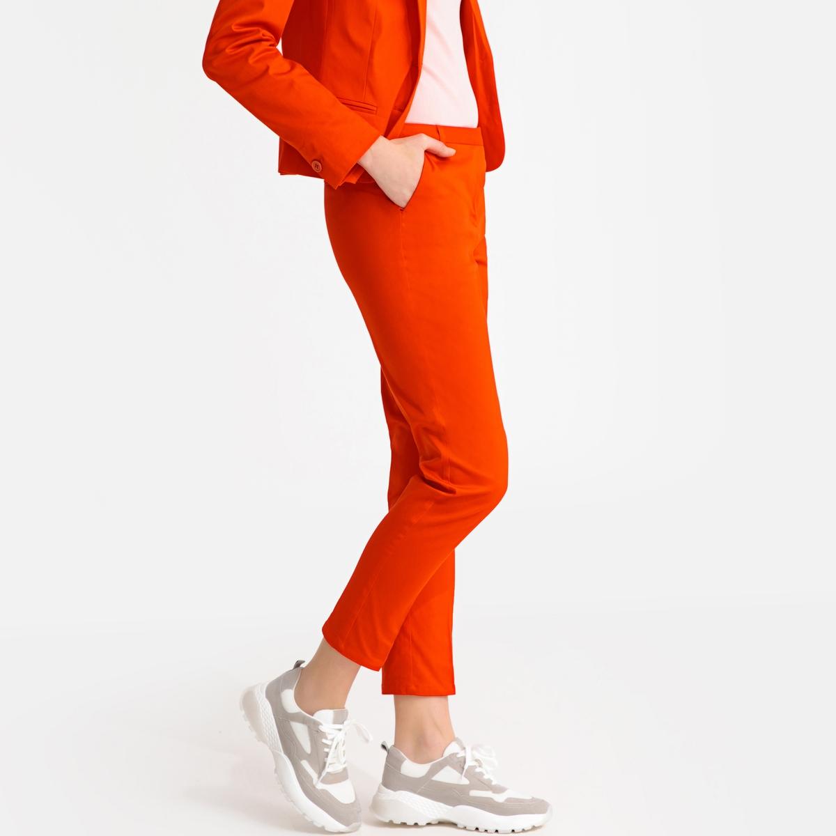 Pantalón slim de satén de algodón stretch