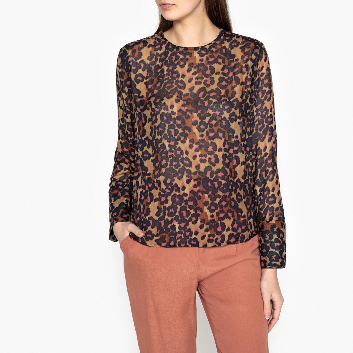 Блузка с леопардовым рисунком из вискозы жакет с леопардовым рисунком