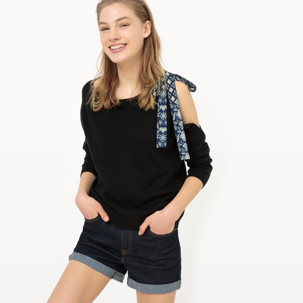 Пуловер с вырезом-лодочкой и застежкой на плечеДетали   •  Пуловер классический •  Длинные рукава •  Круглый вырез •  Плотный трикотаж Состав и уход   •  23% вискозы, 7% шерсти, 70% полиамида •  Следуйте рекомендациям по уходу, указанным на этикетке изделия<br><br>Цвет: темно-синий,черный