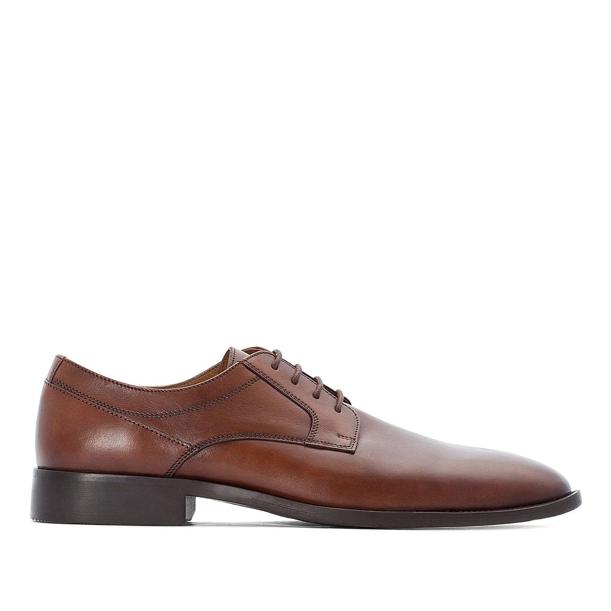 цена Ботинки-дерби La Redoute Кожаные на шнуровке 39 каштановый онлайн в 2017 году