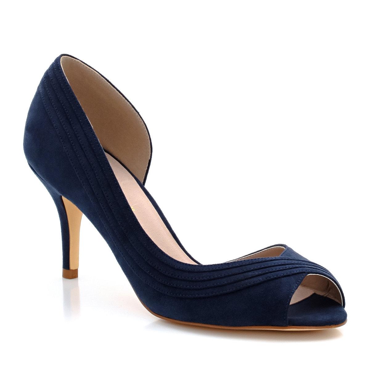 Туфли с открытым мыскомМарка : Mademoiselle R.Верх : искусственная замша.Подкладка : кожаСтелька : кожаПодошва : из эластомераВысота каблука : 7 см<br><br>Цвет: телесный,темно-синий,черный<br>Размер: 38.39