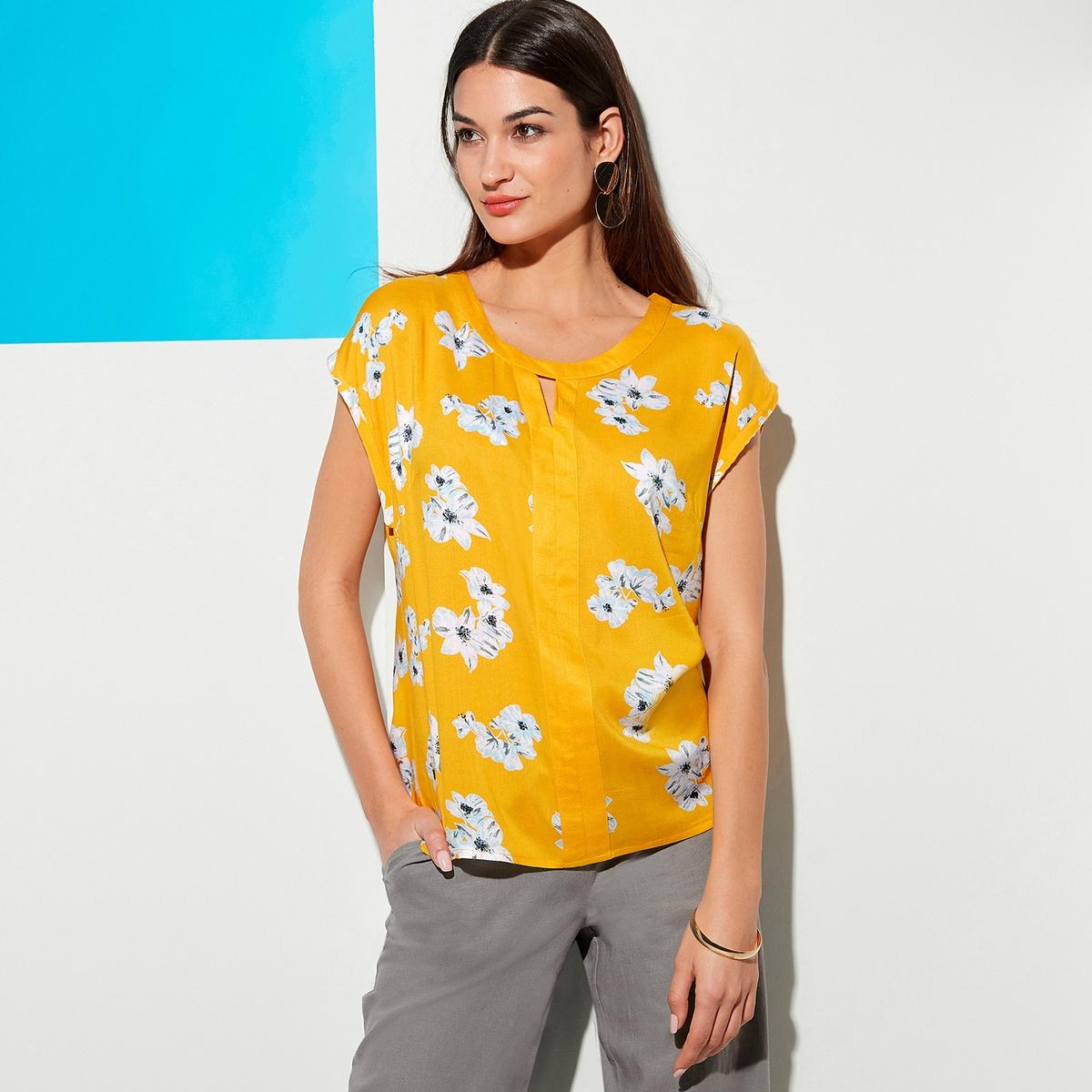 Imagen principal de producto de Blusa vaporosa con estampado de flores, manga corta - Anne weyburn