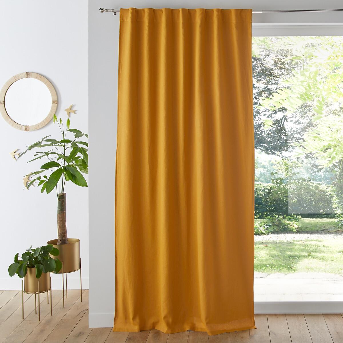 Занавеска LaRedoute Затемняющая из льна и вискозы Odorie 180 x 135 см желтый