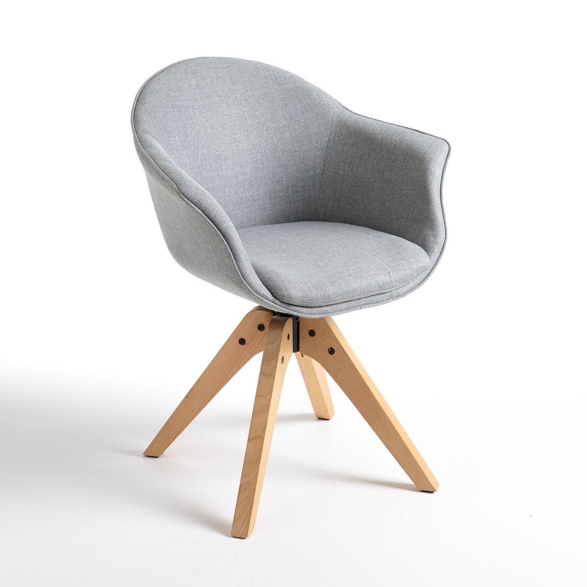 Фото - Кресло LaRedoute Офисное вращающееся Quilda единый размер серый тумба laredoute для телевизора с раздвижными дверцами quilda единый размер каштановый