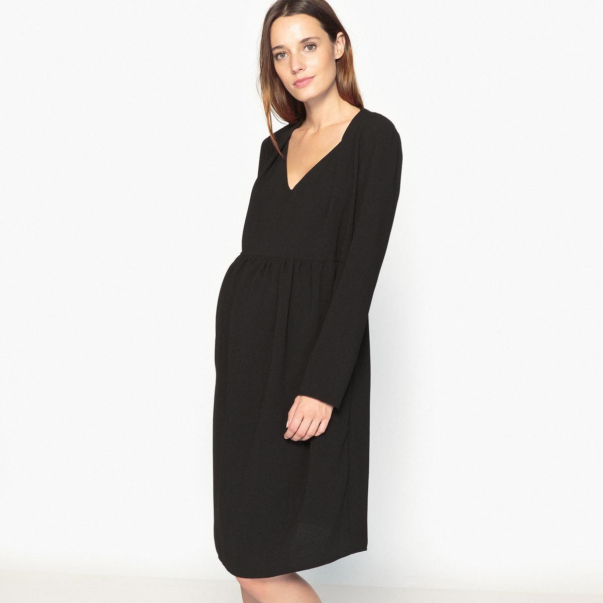 Платье с V-образным вырезом для периода беременностиДетали •  Форма : прямая •  Длина до колен •  Длинные рукава    •   V-образный вырезСостав и уход •  2% эластана, 98% полиэстера  •  Температура стирки при 30° на деликатном режиме   •  Сухая чистка и отбеливание запрещены •  Не использовать барабанную сушку •  Низкая температура глажкиМодель адаптирована для периода беременности  •  Длина  : 99 см<br><br>Цвет: красный,черный<br>Размер: 40 (FR) - 46 (RUS)