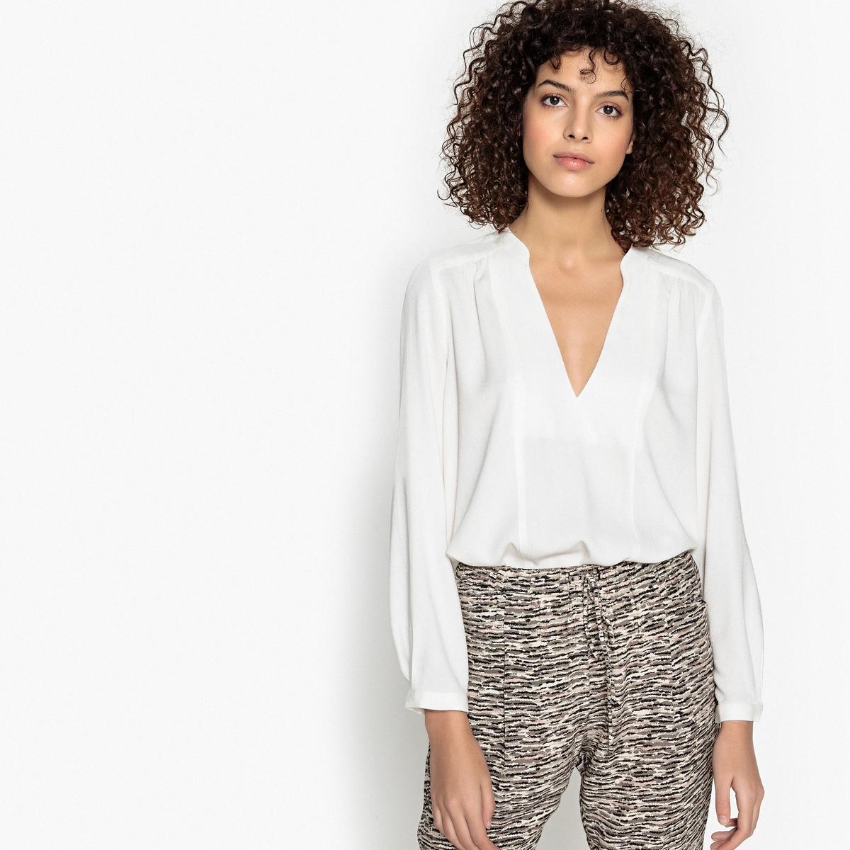 Блузка однотонная с V-образным вырезом и длинными рукавами футболка базовая с u образным вырезом