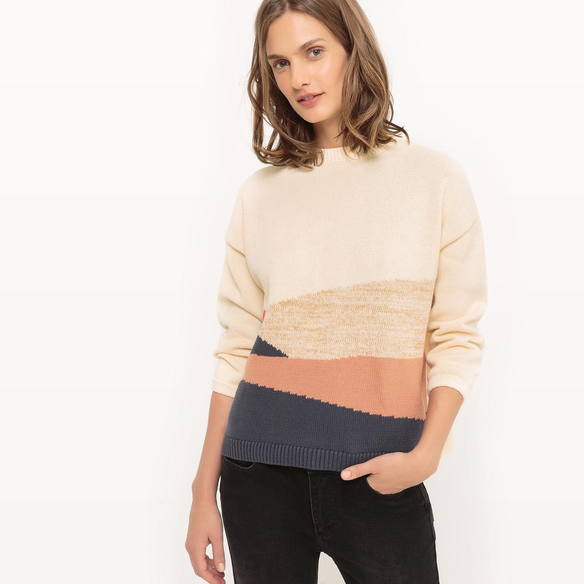 Пуловер с жаккардовым рисунком и круглым вырезом пуловер с жаккардовым рисунком manitou